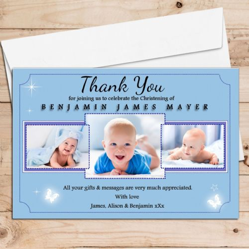 10 Personalised Christening Baptism Thank you PHOTO Cards N153 - Butterfly shine